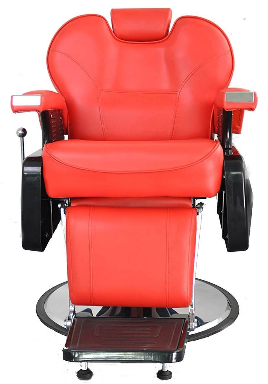 Deluxe Red Leather Covering U2013 This BarberPub All Purpose Hydraulic Recline Barber  Chair Features Top Of The Line Leather, Dyed Red For Visual Appeal.