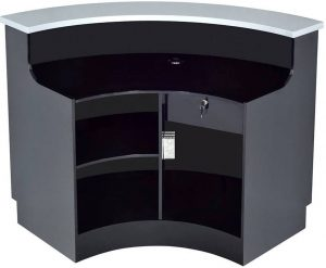 Black curved reception desk with lockable storage